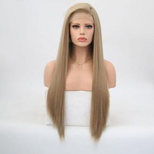 Image 2 - Rongduoyi ארוך משיי ישר שיער אפר בלונד צד חלק פאת קוספליי Glueless חזית תחרת פאות עבור נשים
