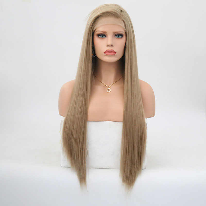 Rongduoyi peruca cabelo liso, cabelo sintético frontal, cinza loira, parte lateral, cosplay, sem cola mulheres
