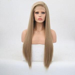 Image 2 - Rongduoyi длинные шелковистые прямые синтетические волосы, передний парик, пепельно блонд, боковая часть, парик для косплея, парики для женщин без клея