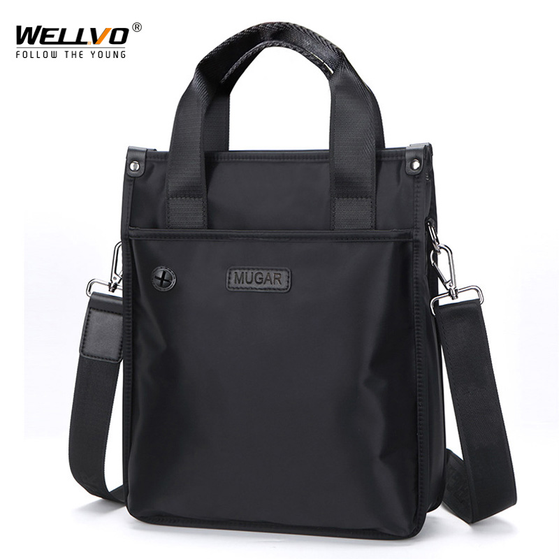 Men's Waterproof Sling Shoulder Bag Casual Tote Oxford Messenger Bags Business Handbag For Male Office Satchels Black XA282ZC