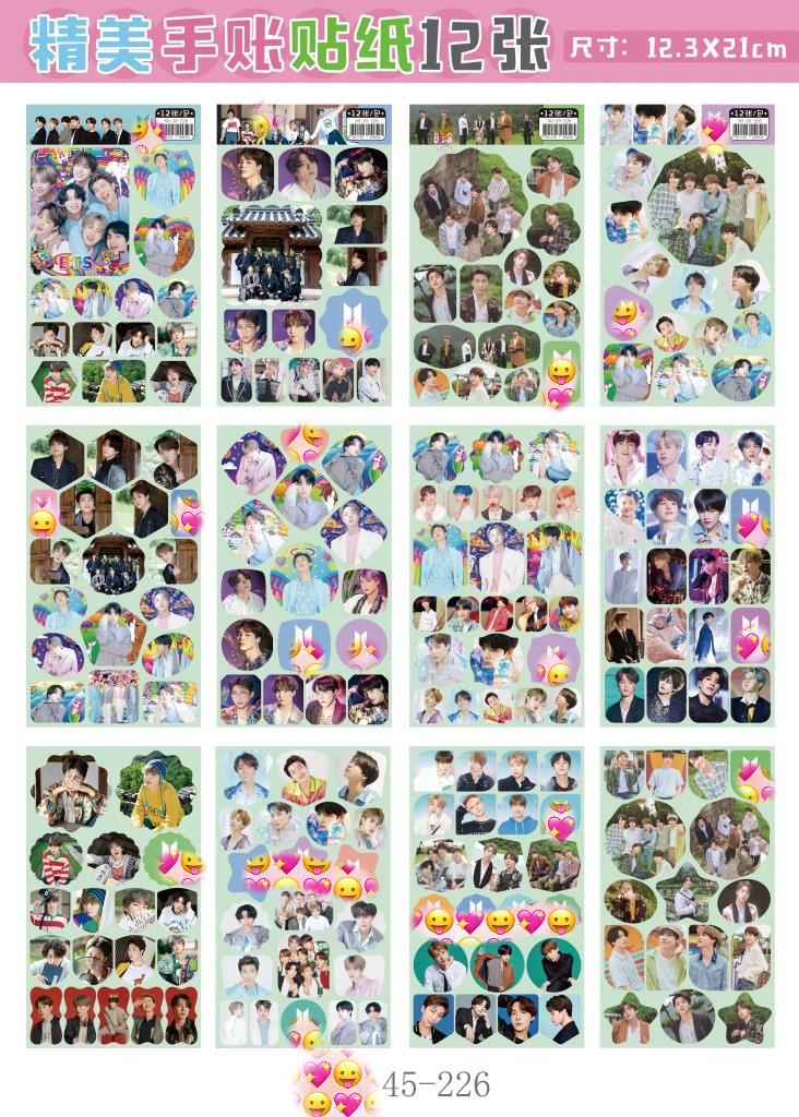 120 sheets/lot KPOP <font><b>Sticker</b></font> <font><b>Kim</b></font> Nam Jun Jin J-HOPE Min Yun Ki Jimin <font><b>Kim</b></font> Tae Hyung Jung Kook magic 3d wall <font><b>stickers</b></font> for kids room image