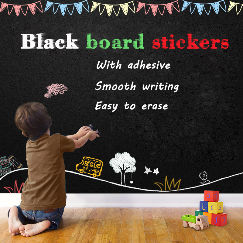 Size 500*1200mm Self-adhesive Blackboard Wall Stickers Kid Drawing Draw Erasable Chalkboard With Adhesive Easy To Install
