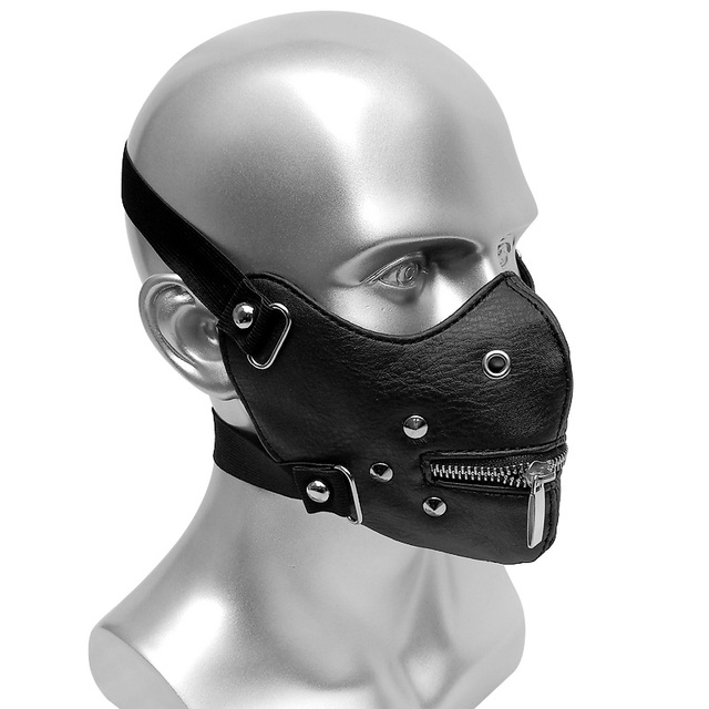 Rivet Steampunk Half Face Mask Gothic Cosplay Dust Protective Masks Unisex Mouth Zipper Open Punk High quality Masks 3