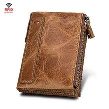 Натуральная кожа Для мужчин кошелек небольшой карман на молнии Для мужчин кошельки Portomonee мужской короткий портмоне бренд Perse сумочки известного бренда Carteira для Rfid