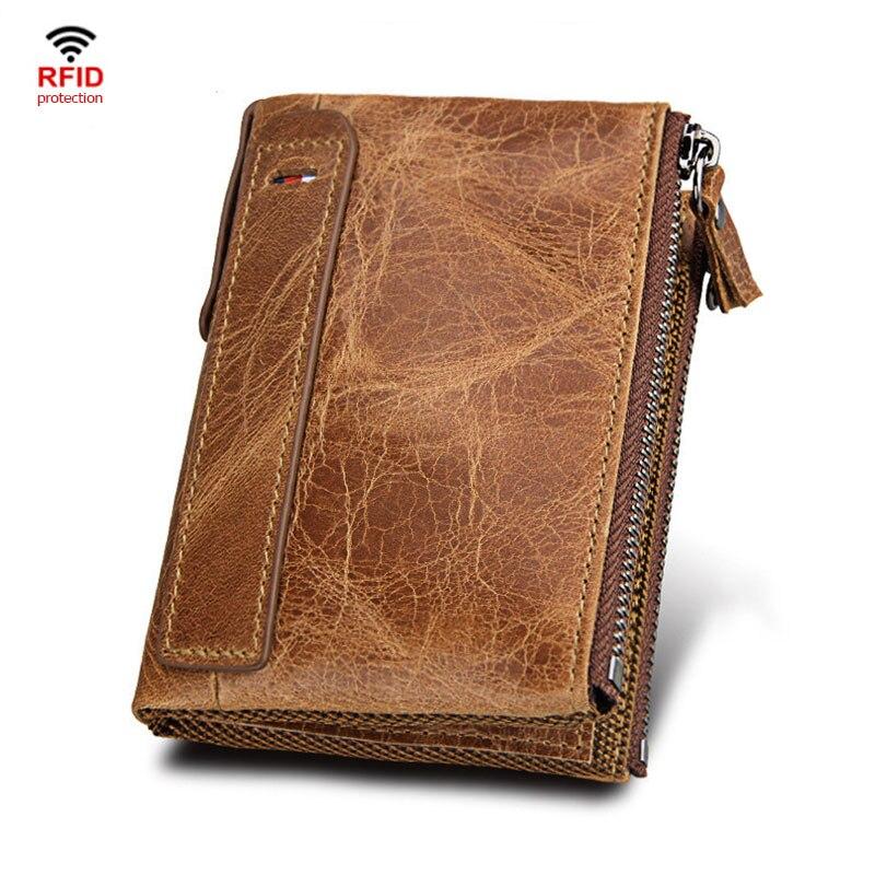 100% Genuine Leather Men Wallet Small Zipper Pocket Men Wallets Portomonee Male Short Coin Purse Brand Perse Carteira For Rfid