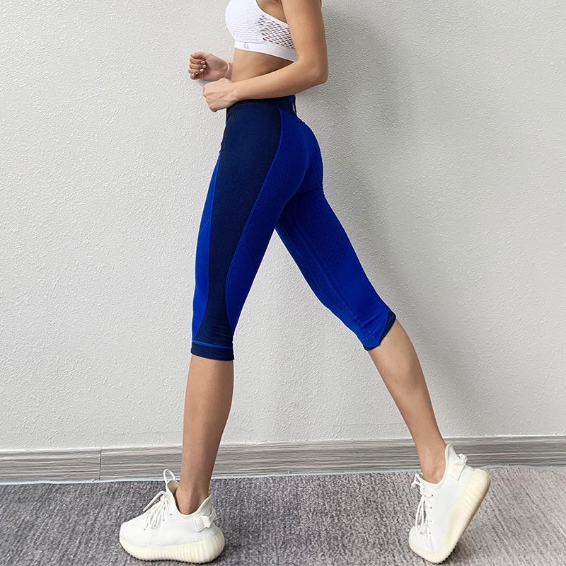 Black Women Yoga Pants Hit Color Seamless Sport Leggings Quick Dry Capris Running Trouser Woman Crop Leggins Gym Fitness Tight