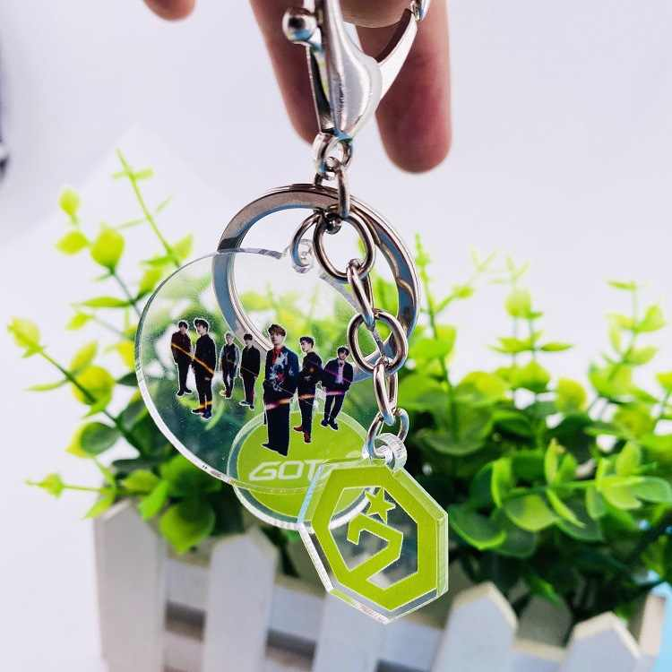 Kpop GOT7 keychain מפתח טבעת creative תליון סימן ג 'קסון קונצרט שמסביב. k-pop GOT7 מפתח שרשרת תליון