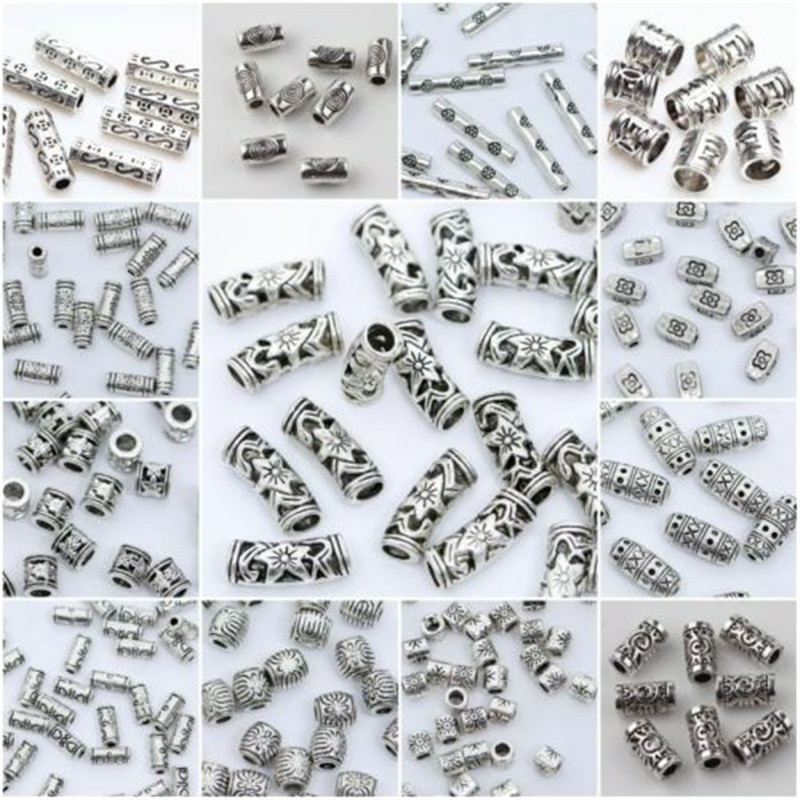 27 Styles Tibetan Silver Tube Beads Metal Spacer DIY Beads Tube Charms for Jewelry Making 20/50/100Pcs(China)