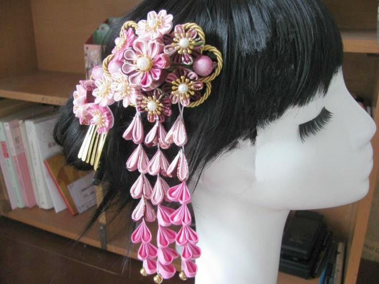 Красивый цветок головной убор цветок из текстиля головной убор сакуры кимоно шпилька классические кисточки юката головной убор синий и розовый - 2