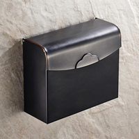 High quality Copper Black Antique Brushed Tissue Box Briefcase Waterproof Toilet Paper Holder