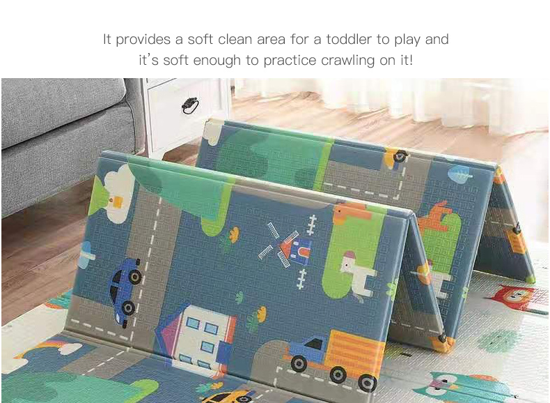 H10d8bf2d575f48d48f5e1137fe6199aey Miamumi Portable Baby Play Mat XPE Foam Double Sided Playmat Home Game Puzzle Blanket Folding Mat for Infants Kids' Carpet Rug