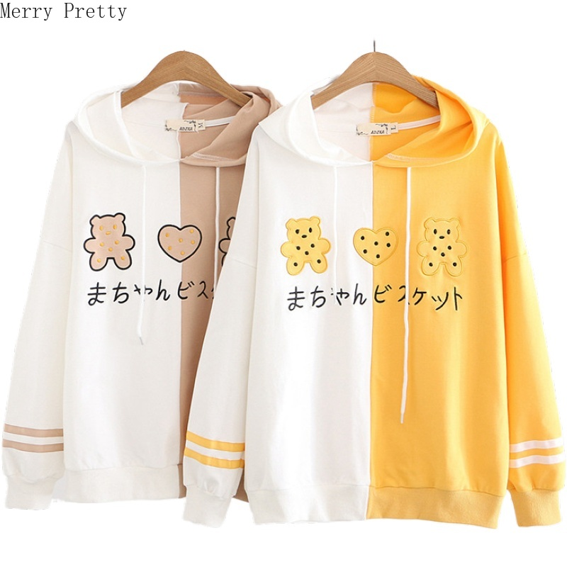 Women's Cotton Hooded Sweatshirt Cartoon Embroidery Patchwork Hoodies 2020 Spring Long Sleeve Casual Loose Femme Pullovers