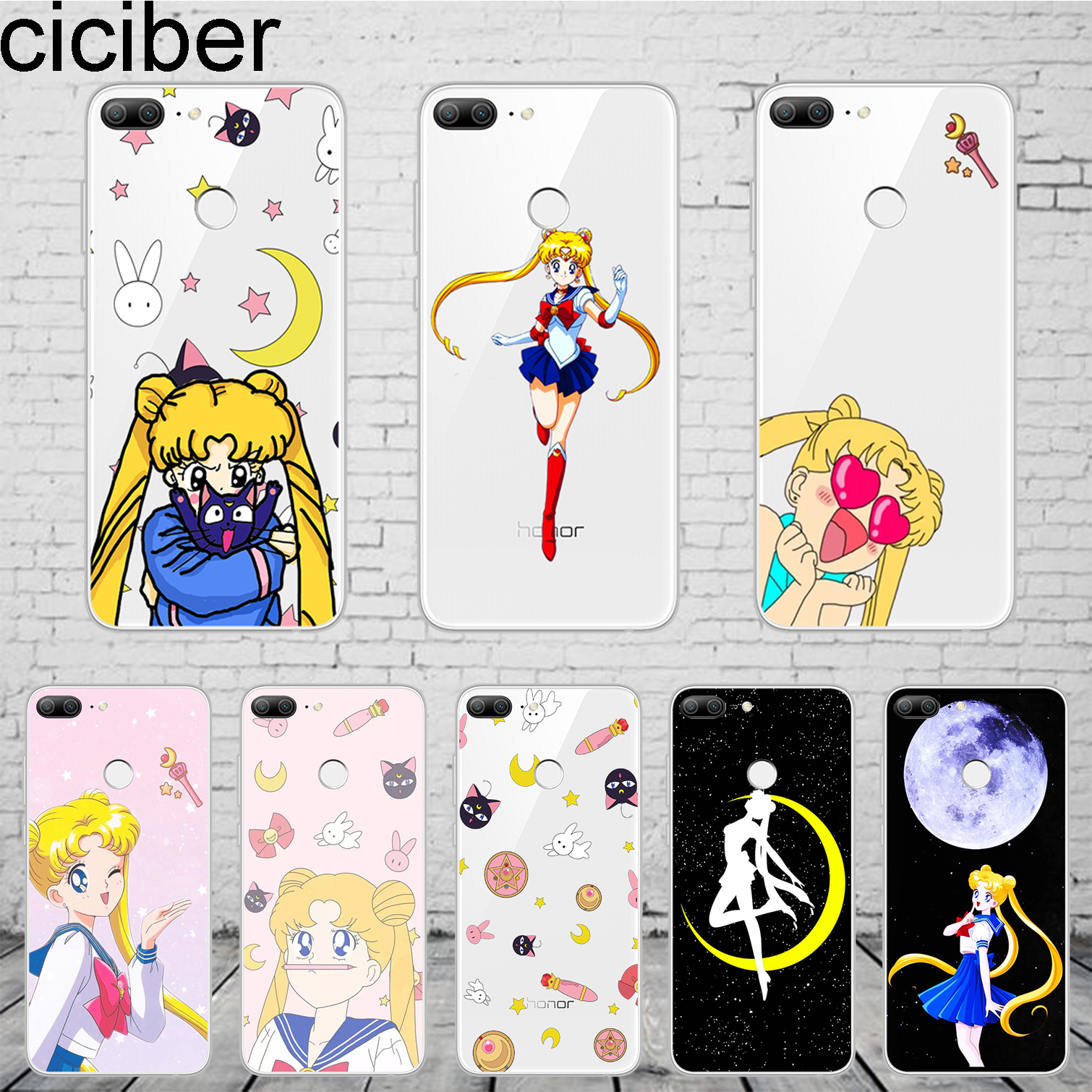 ciciber Anime Girl Sailor Moon For Honor 10 9 8 Pro Lite X C Play Phone <font><b>Case</b></font> For <font><b>Y</b></font> 9 7 <font><b>6</b></font> 5 <font><b>Prime</b></font> Pro 2017 <font><b>2018</b></font> 2019 Coque TPU image