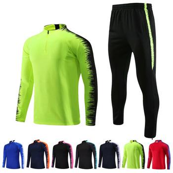 Zimowe koszulki piłkarskie dla dzieci zestawy bluza z długim rękawem dresy do piłki nożnej zestaw mężczyźni dresy piłkarskie kurtki do biegania mundury zestaw tanie i dobre opinie NoEnName_Null Poliester Pasuje prawda na wymiar weź swój normalny rozmiar Running Suits LONG sleeve 2XS XS S M L XL 2XL 3XL 4XL