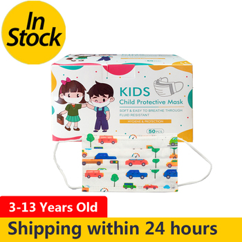 50pcs/box Disposable Masks For Children Aged 4-12 Child Face Mouth Mask Kid Non-woven 3-layers Breathablthe Cute Car mask