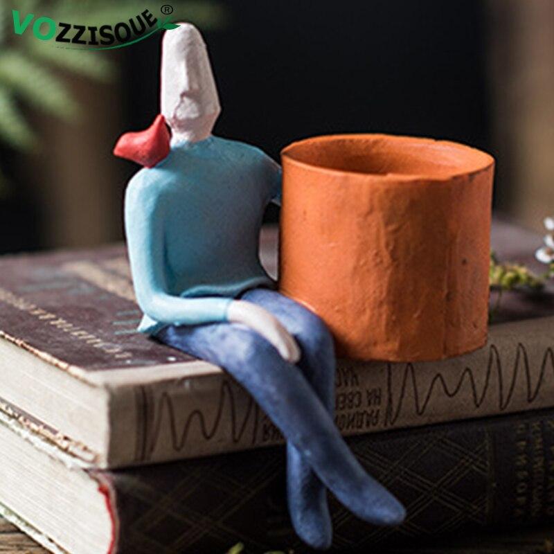 Abstracto de personaje de dibujos animados Flor de cerámica maceta para suculenta Hombre árbol olla plantador de escritorio de casa florero regalo Ideas macetas decorativas