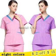 NEW Women Medical Uniforms Color Blocking V Neck Scrub Top Short Sleeve Cotton Scrub Set Surgery Doctor Nurse Costume