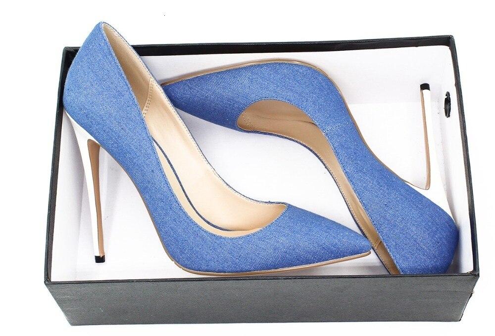 Demin cuir sandale femmes Super haut talon mince talons sandales Sexy blanc talons chaussures grande taille 35 45 bout pointu chaussures de piste - 6