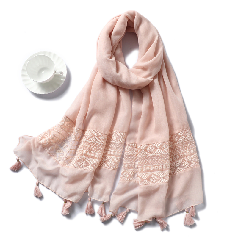 2020 Design Brand Women Scarf Hijabs For Lady Solid Color Tassel Fashion Shawls And Wraps Pashmina Bandana Female Foulard