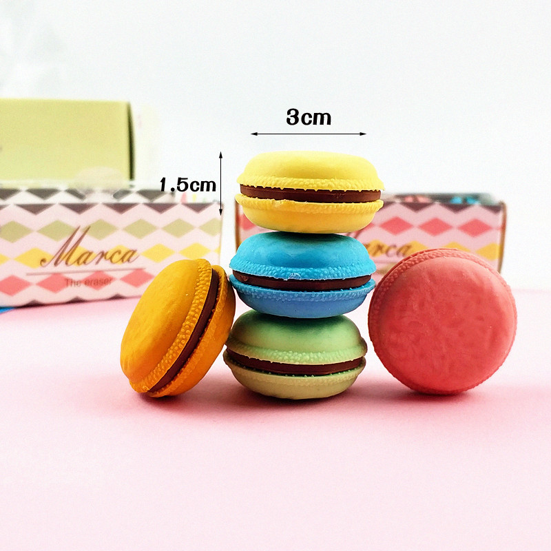 6 Set Lot Cute Cake Rubber Eraser Macaron Color Pencil Erasers