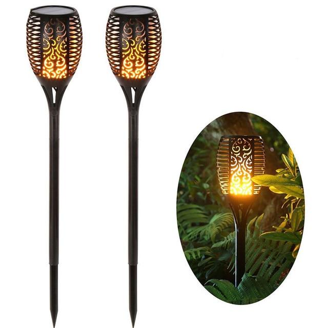 96 LED שמש מנורה חיצוני עמיד למים גן קרקע הכנסה שמש להבת אור חצר נוף כביש תאורה
