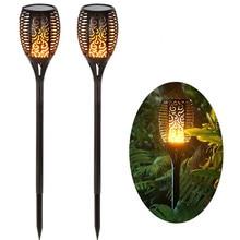 Lámpara Solar de 96 LED impermeable para exteriores Luz de llama Solar de inserción de suelo de jardín, iluminación de paisaje de patio y carretera