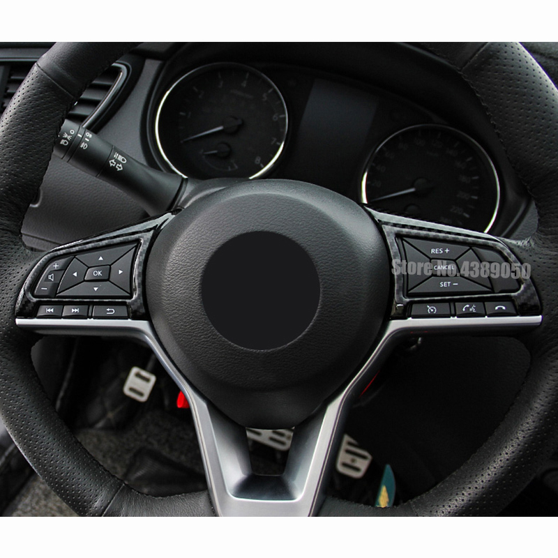 2PCS ABS Matte Steering Wheel Button Cap Trim  For Nissan X-TRAIL Rogue 2017