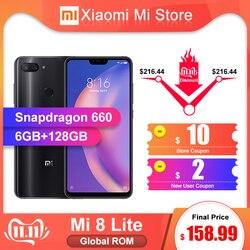 Rom global xiao mi 8 lite 6 gb 128 gb smartphone snapdragon 660 octa núcleo cpu 6.26