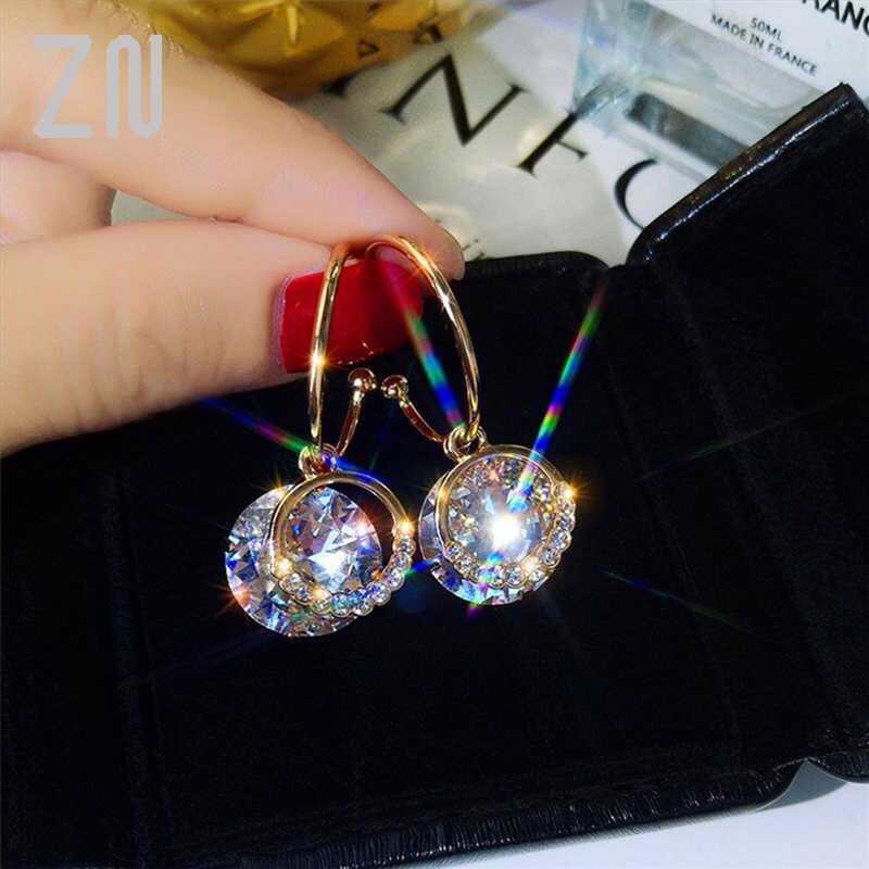 ZN New Arrival Dangle Earrings Metal Classic Round Women Dangle Earrings Korean Fashion Circle Geometric Earrings Sweet Jewelry
