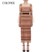 COLOREE 2019 Runway Designer Womne Long Sleeve Polka Dot Long Dress Elegant Square Collar Sexy Backless High Waist Maxi Dress