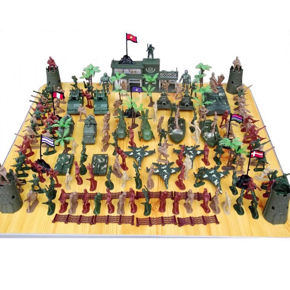144Pcs 5cm Plastic Soldier Sand Table Scene Model World War II Soldier Military Toy Set For Children