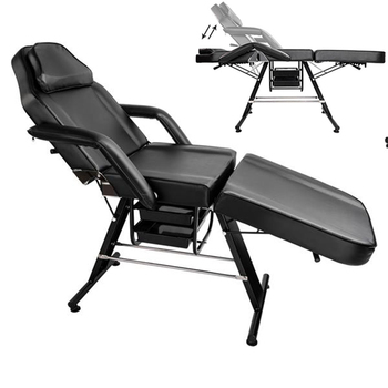 "Fortable 70"" Adjustable Folding Portable Aluminum Foot Beauty Salon SPA Massage Tattoo Bed Equipment Black"