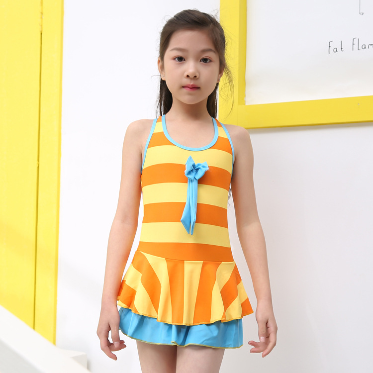 New Style KID'S Swimwear Princess Butterfly Flower Big Boy Dress-GIRL'S Students Cute Baby GIRL'S Swimsuit
