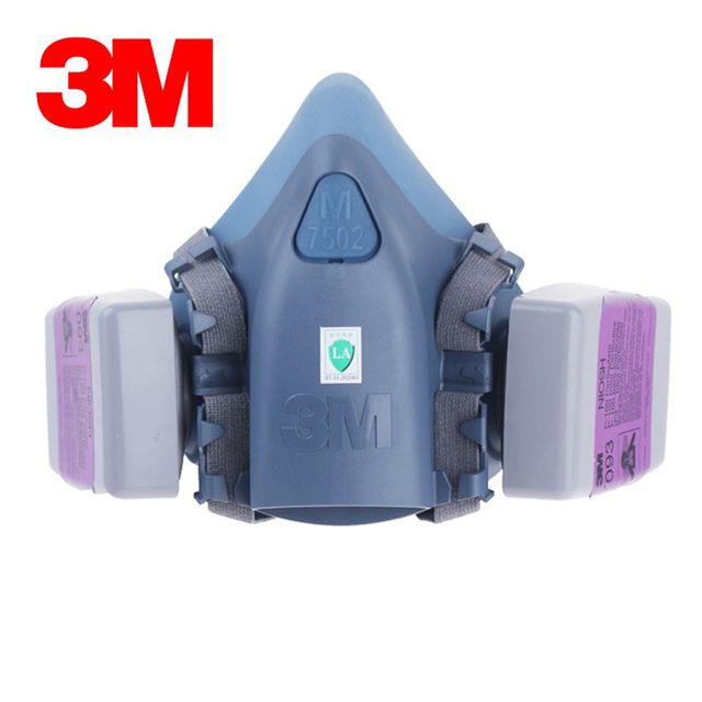 3M 7502 Half Face Respirator Painting Spraying Gas Mask Chemcial Safety Work Gas Mask Proof Dust Facepiece Respirator Mask
