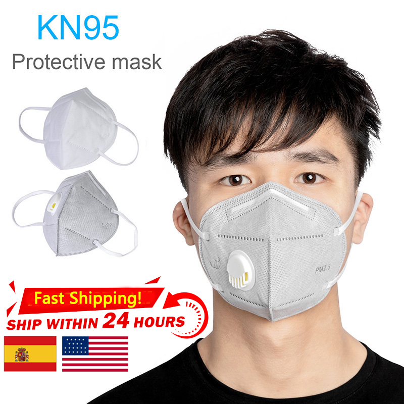 20PCS KN95 Valved Dust Mask PM2.5 Formaldehyde Bad Smell Bacteria Proof Folding Face Mouth Mask Safe Breathable