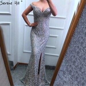 Image 2 - Prata fora do ombro split luxo sereia vestidos de noite 2020 diamante miçangas moda sereno hill la6653