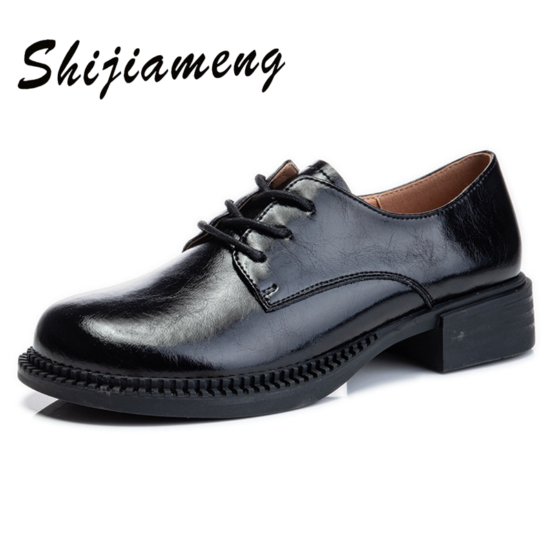 Fashion single shoes women's spring 2021 new thick soled thick heel leather casual shoes women's lace up Mary Jane women's shoes