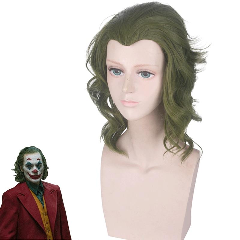 Joker Origin Movie Clown Joker Wig Cosplay Costume Joaquin Phoenix Arthur Fleck Curly Green Heat Resistant Hair pelucas