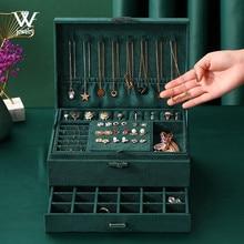 , Nowy 3-warstwy zielony stadniny Organizer biżuterii duży pierścionek naszyjnik uchwyt na kosmetyki przypadkach aksamitne pudełko na biżuterię z zamkiem dla kobiet