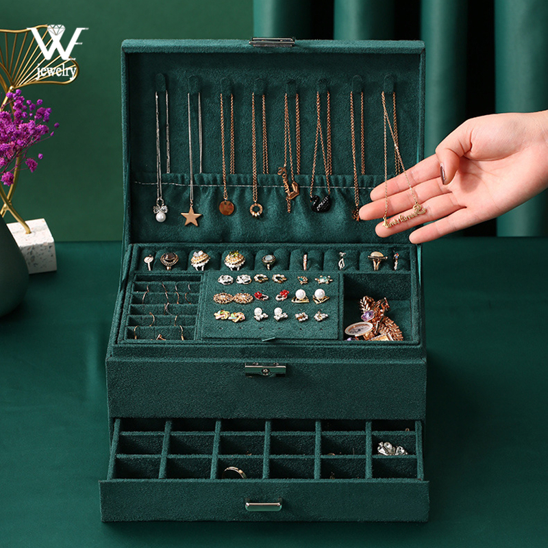 WE New 3layers Green Flannel Stud Jewelry Organizer Large Ring Necklace Makeup Holder Cases Velvet Jewelry Box with Lock Women