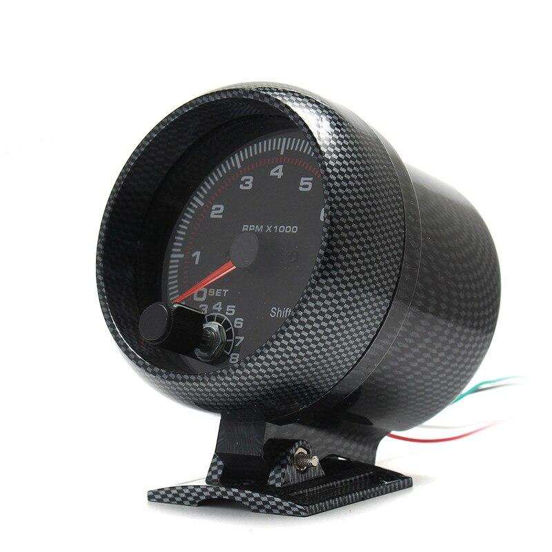 Tachymètre jauge diamètre 95mm/3.75in 12V DC noir fonctionne sur 4 6 8 cylindres moteurs universel s'adapte 12V essence véhicule antichoc