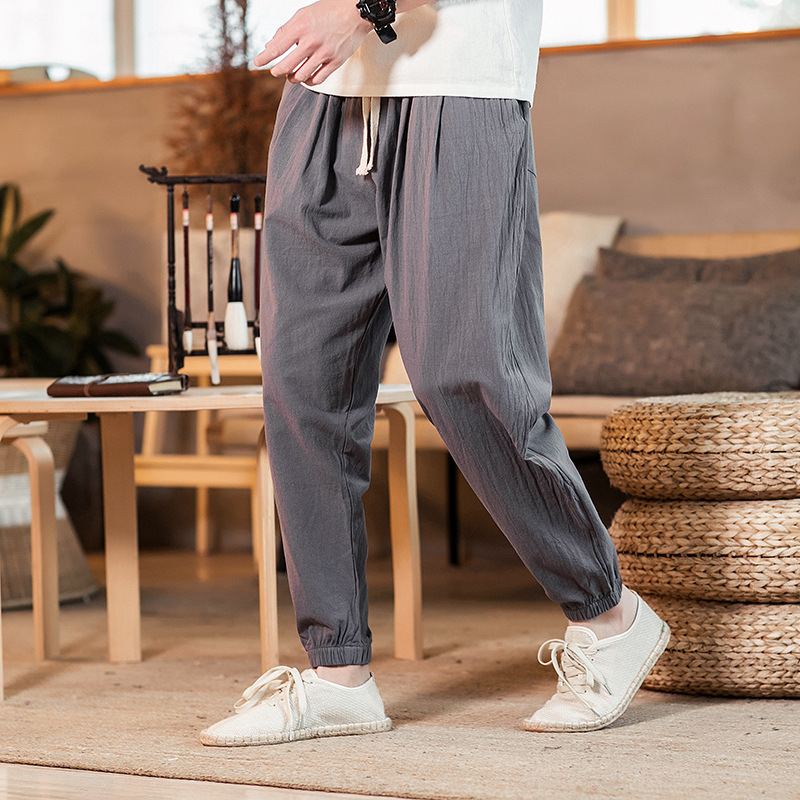 MEN'S Casual Pants Loose-Fit Beam Leg Skinny Flax Harem Pants Sports Ninth Pants Men \'s Casual