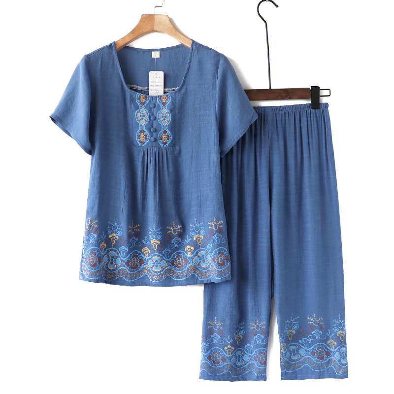 Summer Cotton And Linen Women Top Short-Sleeved Printed Colorful Mother Pants Sets Brief Loose Sleepwear Big Size XL-4XL Green