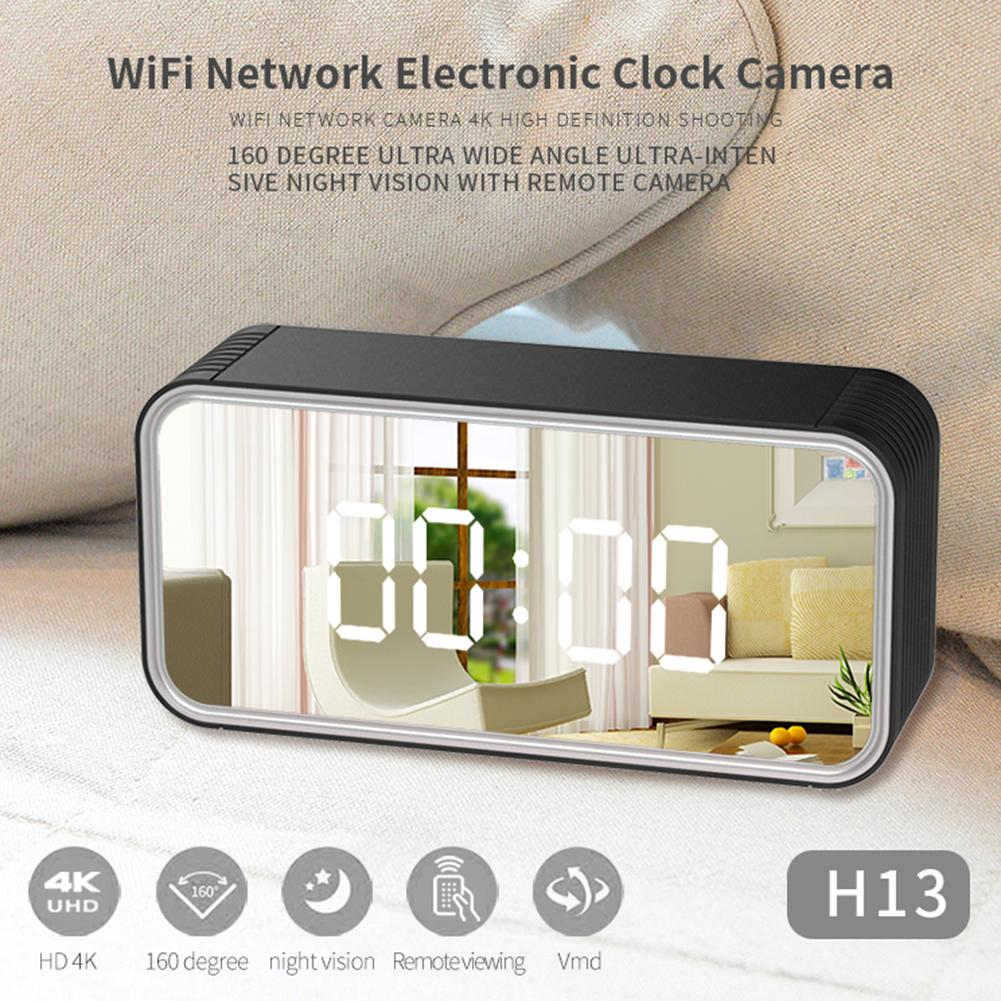 2020 New HD 4K Wifi Network Electronic Clock Camera 160 Degree Wide Angle Super Night Vision Support 128GB Home Security Camra