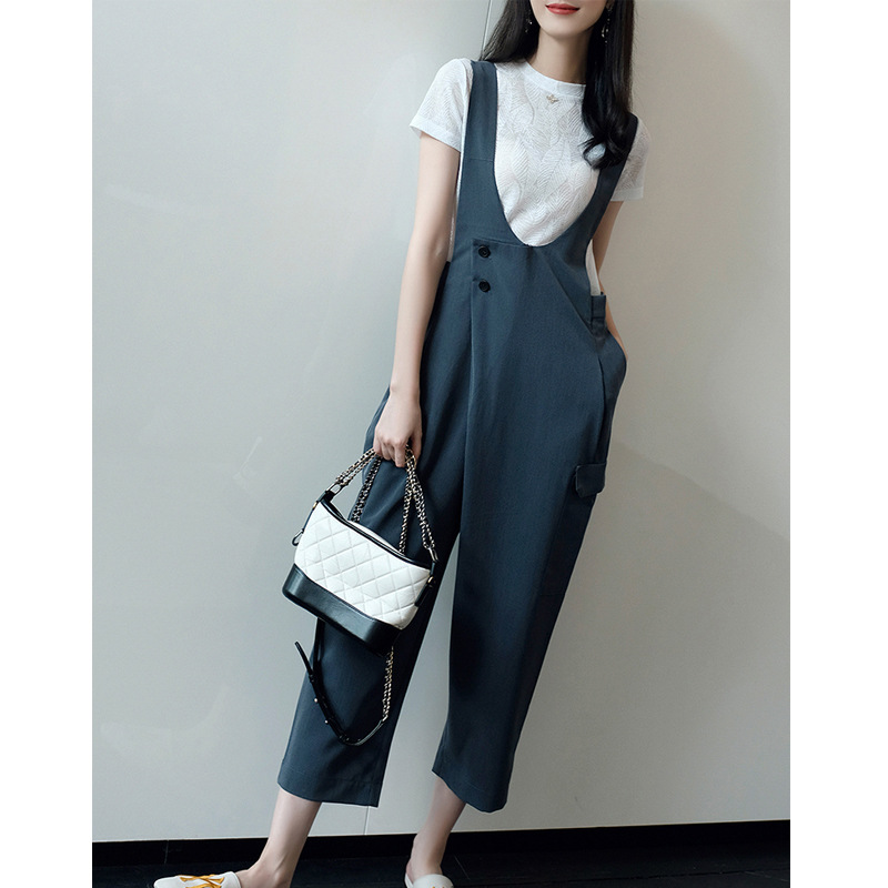 Young-Style CHIC WOMEN'S Dress 2019 Summer Wear New Style T-shirt Elegant Hong Kong Flavor Loose-Fit One-piece Suspender Pants S