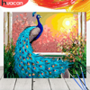 HUACAN Painting By Numbers Animals Kit Acrylic Paint On Canvas Wall Art Picture HandPainted Peacock Home Decor DIY Gift