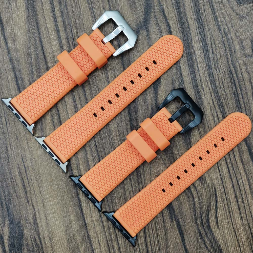 Rubber Watch Bands For Apple Watch 5 4 3 2 1 40mm 44mm Tire Pattern Watch Strap Bracelet For IWatch 38mm 42mm Orange Color