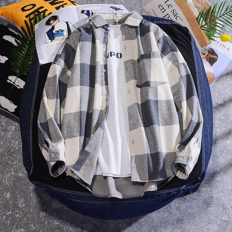Autumn Winter Fleece Shirt Men Casual Loose Plaid Mens Shirts Japanese Streetwear Warm Couple Shirts Hip Hop Clothes S-XXXL