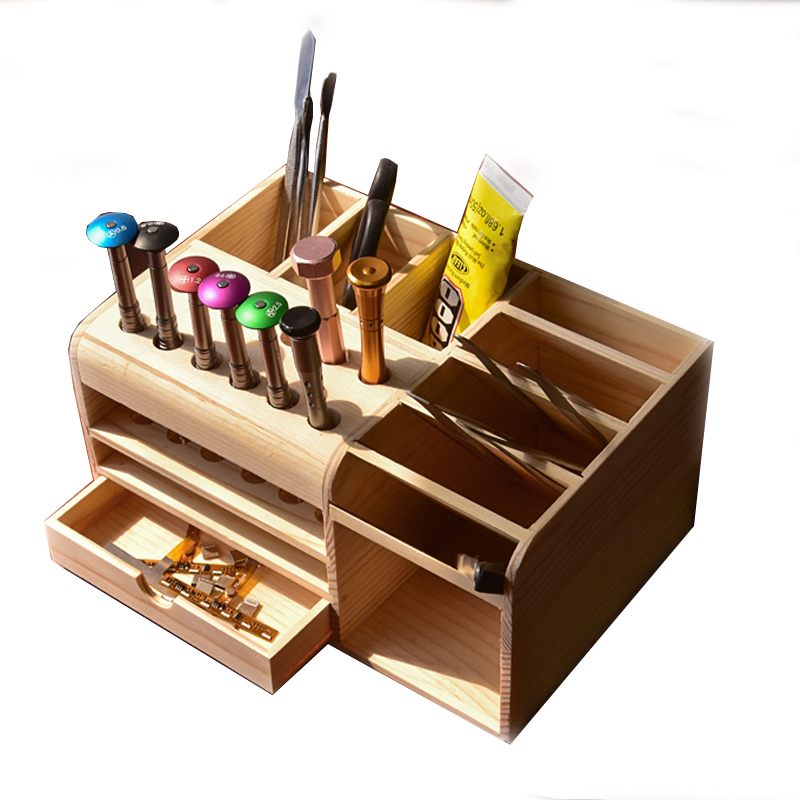 Toolguide  Wooden Container Storage Box For Tools Screwdriver Tweezers Holder Mobile Phone Desktop Reception Tool Parts Box