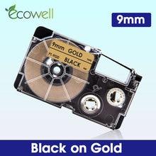 Ecowell 1 шт. 9 мм XR-9GD XR 9GD черный золотистого и запечатанных лент для XR9GD совместимый для объектива с оптическими зумом Casio Kingjim этикетировщик KL-60 ...